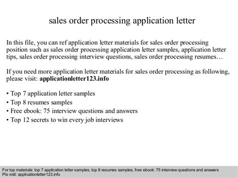 Sle Letter For Product Order Sales Order Processing Application Letter