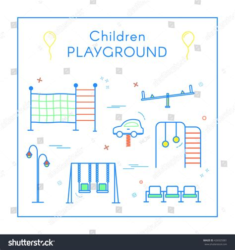 swing layout elements vector linear childrens playground design elements stock