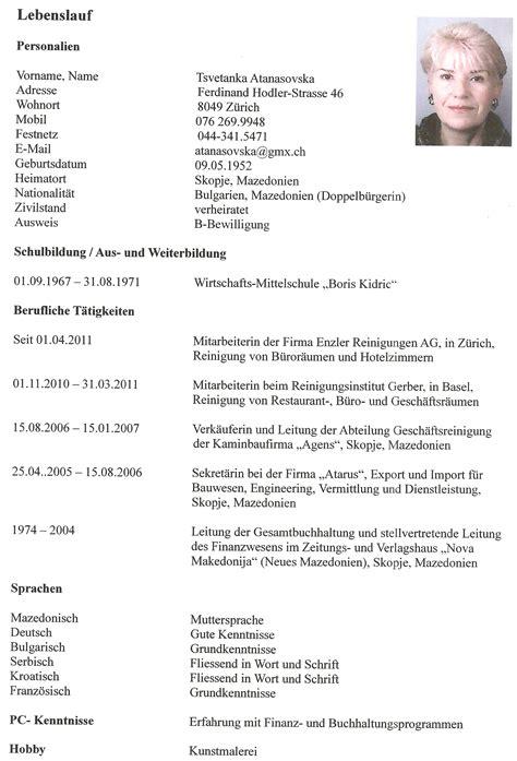 Lebenslauf Vorlage Lehrstelle Sterreich frau z 252 rich stellengesuch bakoco