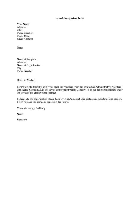 5 formal resignation letter sample 1 month notice notice letter