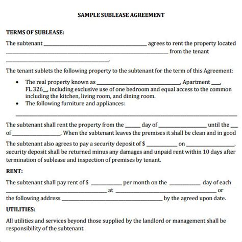 Commercial Sublet Lease Agreement Template Templates Resume Exles Vdajyb8y8p Commercial Sublease Agreement Template California