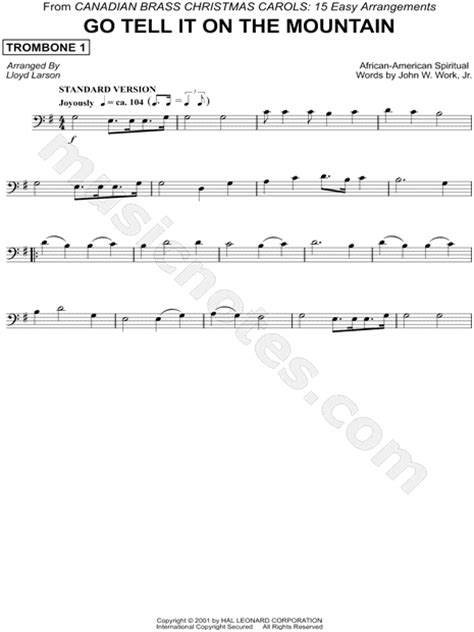 printable lyrics go tell it on the mountain canadian brass quot go tell it on the mountain trombone 1