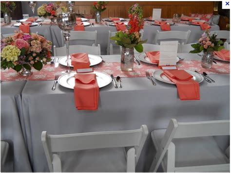 coral and grey wedding table with jars but instead of jars you could do small