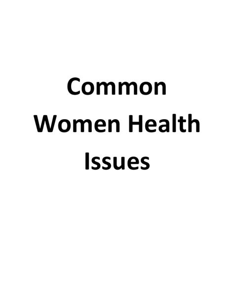 Womens Issues Healthcare Mba by Common Health Issues
