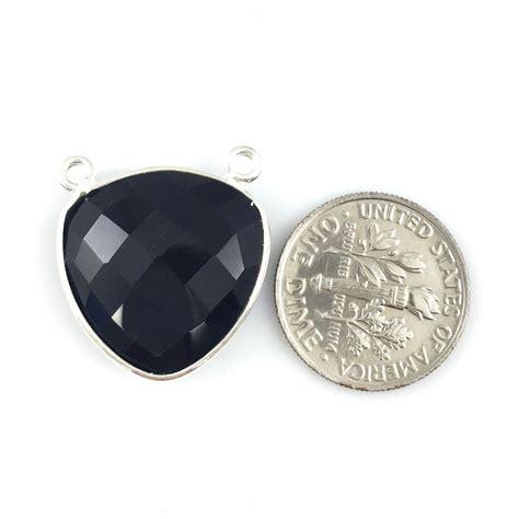 bezel gemstone connector pendant black onyx sterling