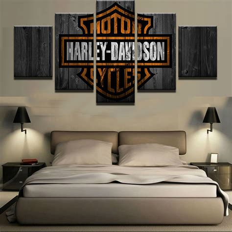 5 panels motor harley davidson cycles painting canvas wall
