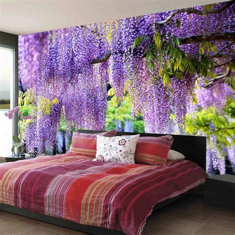 custom poster printing 3d purple flower vine wall