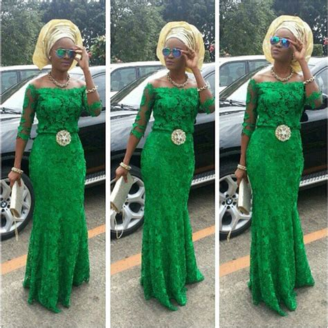 green lace nigerian women designs for weddings evening dresses 2015 vestidos de fiesta three quarter
