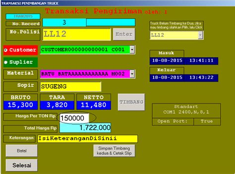 Timbangan Pabrik program aplikasi jembatan timbangan pabrik pecah batu