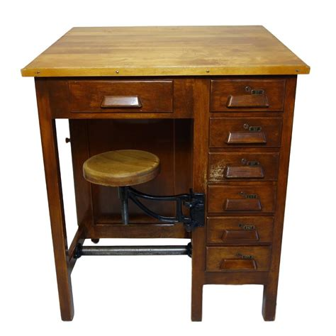 Drafting Table Stools Industrial Drafting Table With Articulating Stool At 1stdibs