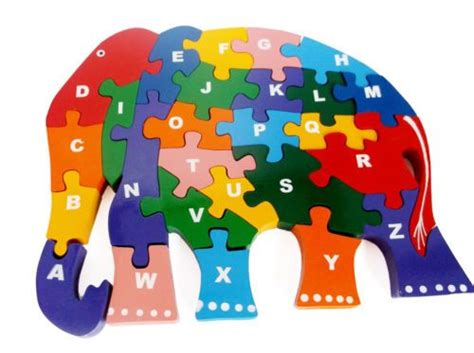 children wooden jigsaw puzzle alphabetic abc elephant