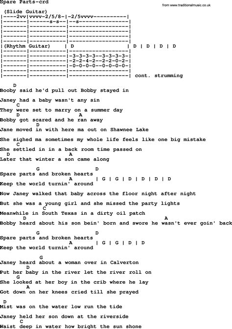 song sections bruce springsteen song spare parts lyrics and chords