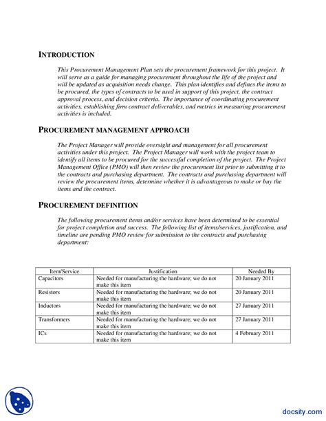procurement management plan template doc image collections