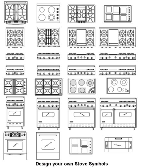 Electrical Architectural Symbols For Floor Plans by Stove Symbols Cad Pro