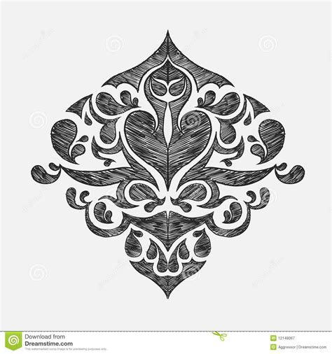 Modern Victorian by Hand Drawn Floral Ornament Royalty Free Stock Photography