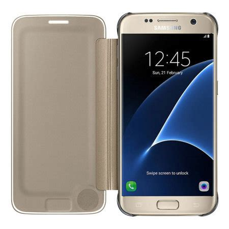 Samsung Clear View Cover S7 Gold official samsung galaxy s7 clear view cover gold