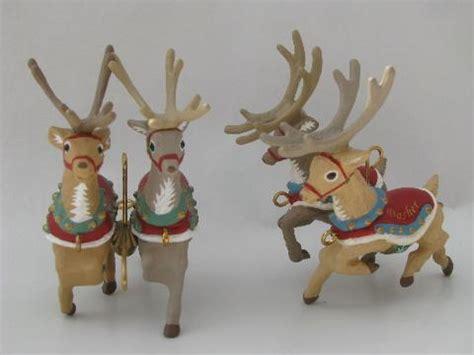 santas reindeer ornament santa and eight tiny reindeer five part hallmark ornament