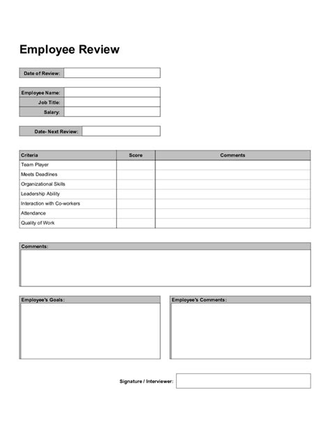 Staff Review Form Template by 2018 Employee Evaluation Form Fillable Printable Pdf