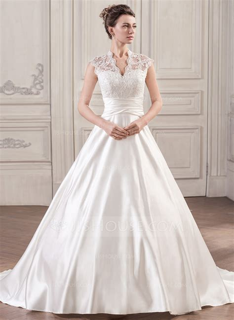 ball gown v neck court train wedding dress with