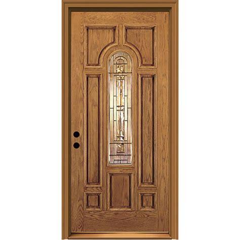Jeld Wen Exterior Fiberglass Doors Shop Jeld Wen Center Arch Lite Decorative Glass Right Inswing Honey Stained