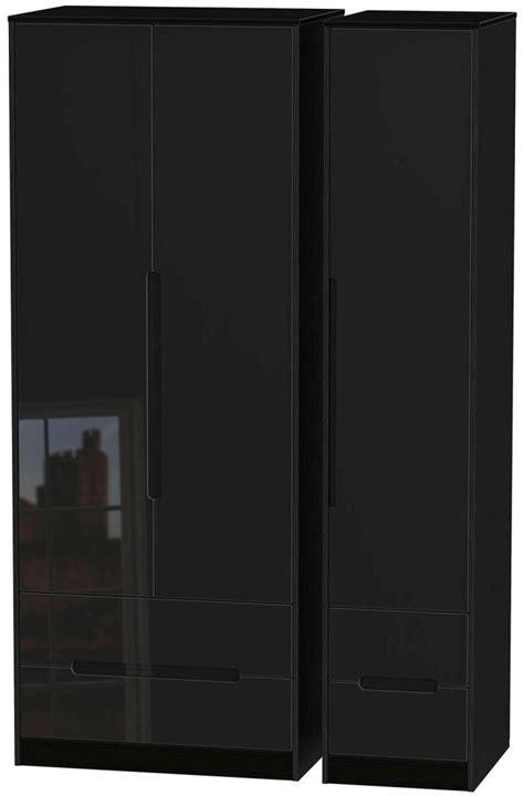 monaco high gloss black wardrobe with drawer