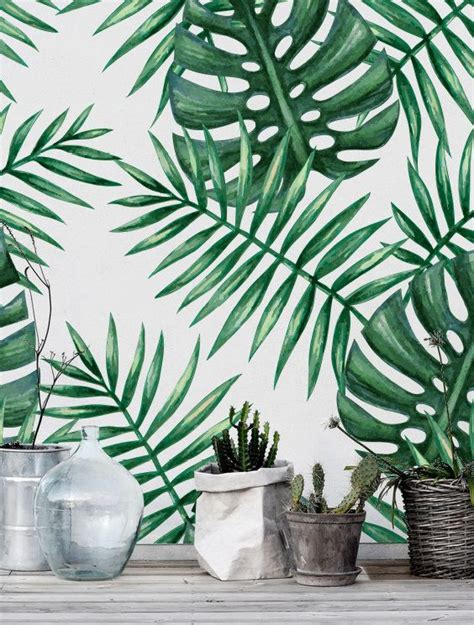 renters wallpaper green watercolor monstera palm leaf self adhesive