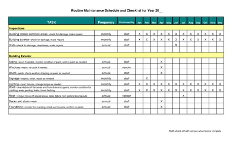Maintenance Schedule Template Excel Schedule Template Free Preventive Maintenance Schedule Template