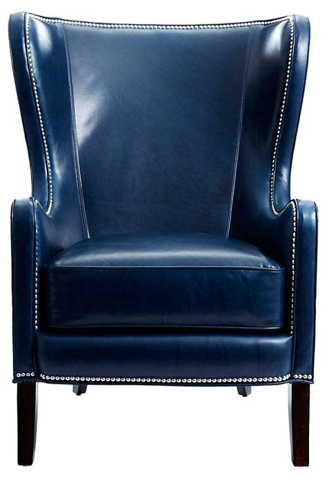 Navy Leather Chair dempsey leather wing chair navy