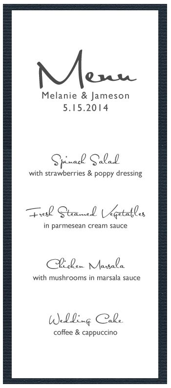 menu card templates 8 best images of wedding menu card templates printable