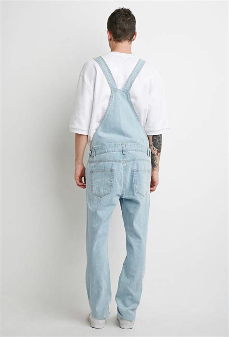 light wash distressed mens lyst forever 21 light wash distressed overalls in blue