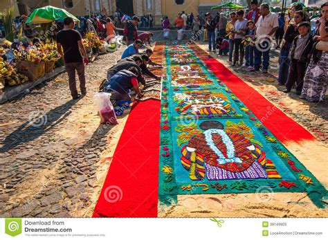 Multi Colored Carpet by Making A Holy Week Carpet Antigua Guatemala Editorial