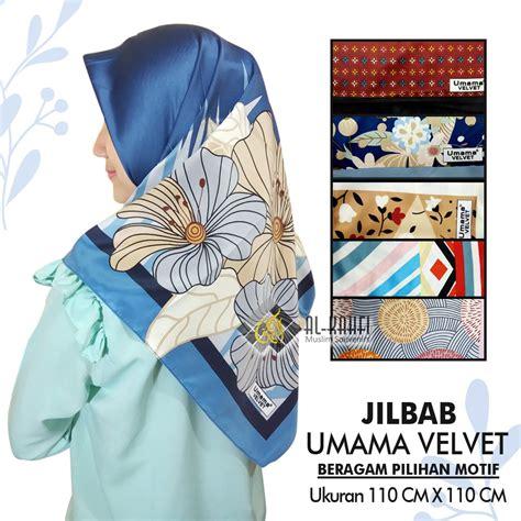 jilbab segi empat umama velvet satin motif tasbih