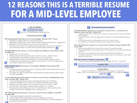 Resume Sles For A Career Change Horrible Resume For Mid Level Employee Business Insider