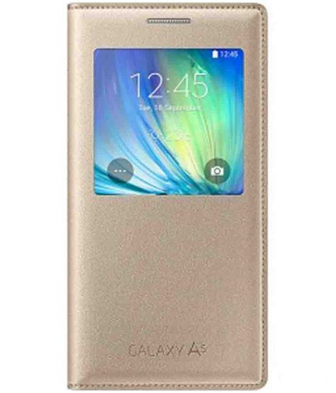 Transparan View Flip Cover For Samsung Galaxy A5 A510 2016 samsung galaxy a5 flip cover by samsung golden flip covers at low prices snapdeal india