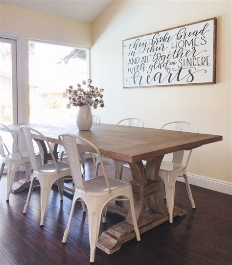 dining room wall decor farmhouse table with metal chairs from homespun signs