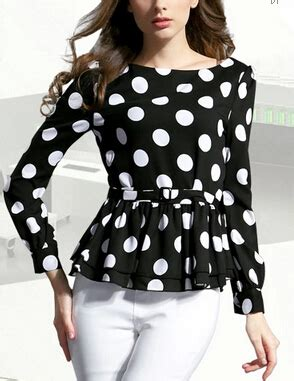 Black Dot Yarn Casual Top S040 china supplier chiffon blouse black and white polka dot sleeve peplum top buy