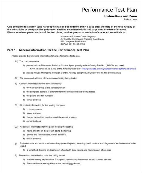 performance testing test plan template 7 sle test plan templates sle templates