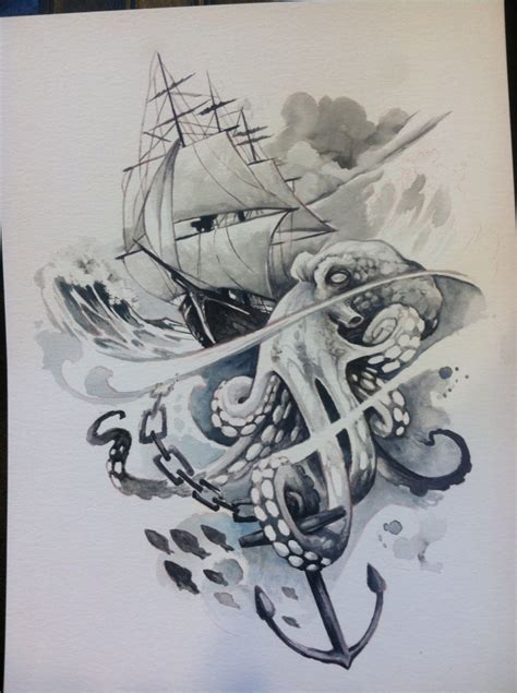 boat and octopus drawing clipper ship and octopus watercolor artwork pinterest