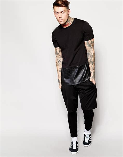 Longline Printed T Shirt Mens by Lyst Asos Longline T Shirt With Mock Crocodile Hem Panel Relaxed Skater Fit In Black For