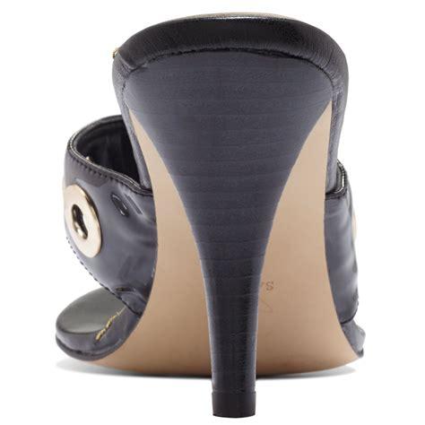 black high heel mules guess womens bonnien high heel mules in black lyst
