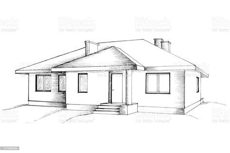 manual drawing   house stock photo  image