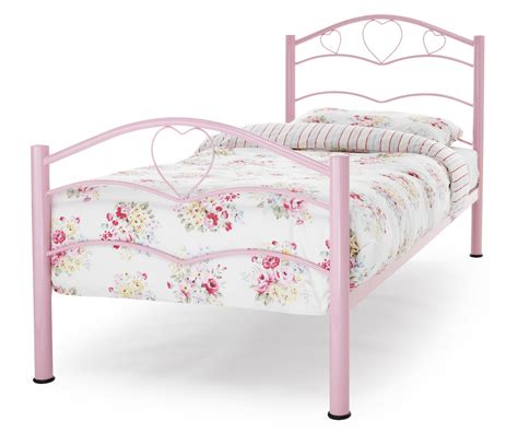 Tanzania Pink Heart Metal Bed Frame Sensation Sleep Beds Pink Metal Bed Frame