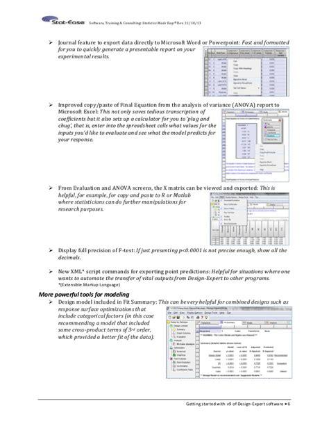 design expert anova interpretation what s new in design expert version 9