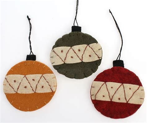 set of 3 large christmas tree ornaments primitive decor