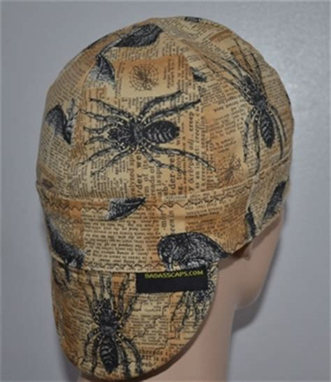 bats welding cap with spiders and ravens
