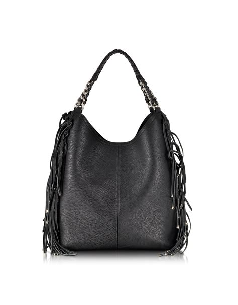 hobo leather bags roberto cavalli fringe black leather hobo bag in black lyst