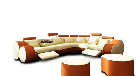 Best Leather Recliner Sofa by 3087 Modern Beige And Orange Leather Sectional Sofa And