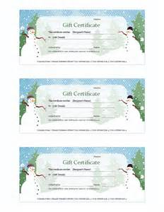 Gift Certificate Template Christmas Templates Certificates Holiday Gift Certificate Snowman