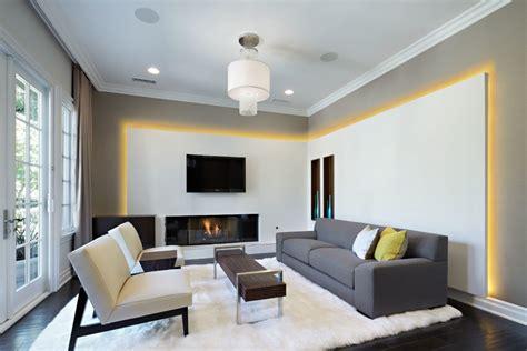 update the plain living room using unique gypsum board