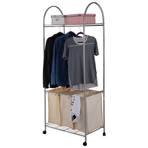 Laundry Cart With Hanging Rack by Rolling Laundry Cart Sorter Her 3 Bag Washing Clothes Bin Storage Basket Rack Ebay